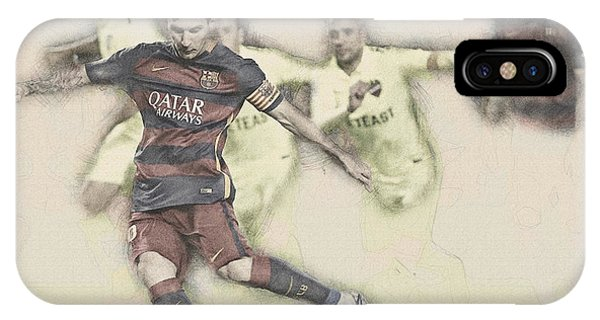 Wayne Rooney iPhone Case - Lionel Messi Scores A Penalty Kick Against Levante  by Don Kuing
