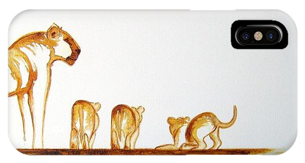 Lioness And Cubs Small - Original Artwork IPhone Case