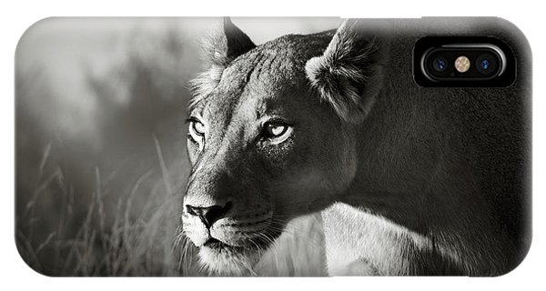 Monochrome iPhone Case - Lioness Stalking by Johan Swanepoel