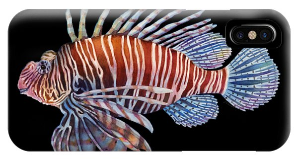 Fins iPhone Case - Lionfish In Black by Hailey E Herrera
