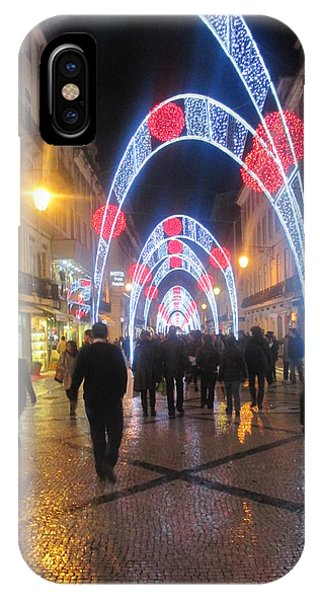 Detail iPhone Case - Lisbon By Night With New Year Decorations by Anamarija Marinovic