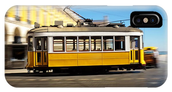 Trolley Car iPhone Case - Lisbon Tram Panning by Carlos Caetano