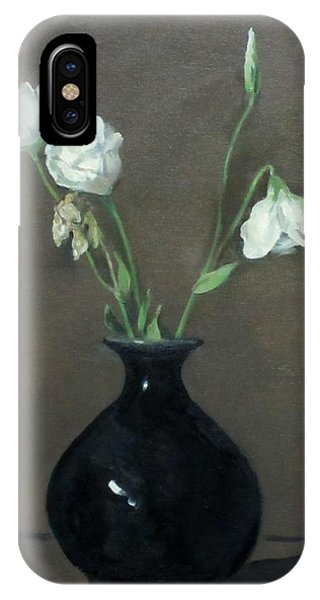 Lisianthus In Black Vase IPhone Case