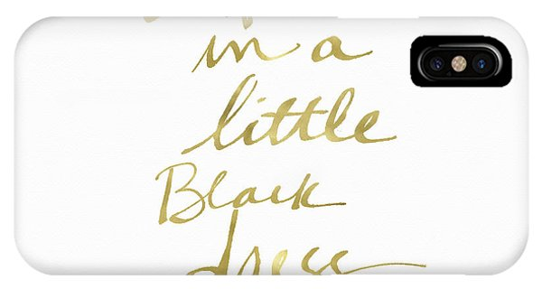 Old Fashioned iPhone Case - Little Black Dress Gold- Art By Linda Woods by Linda Woods