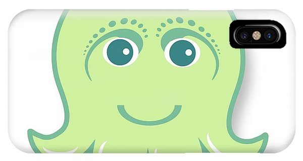 iPhone Case - Little Cute Green Octopus by Ainnion