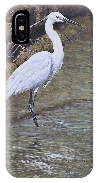 IPhone Case featuring the painting Little Egret by Alan M Hunt
