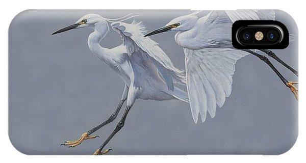Little Egrets In Flight IPhone Case