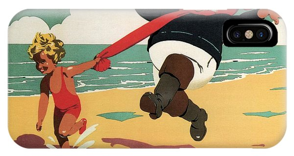 Little Girl And Old Man Playing On The Beach In Skegness, Lincolnshire - Vintage Advertising Poster IPhone Case