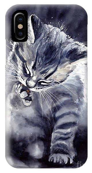 Graphite iPhone Case - Little Grey Cat by Suzann Sines