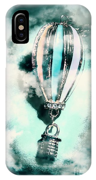 Flight iPhone Case - Little Hot Air Balloon Pendant And Clouds by Jorgo Photography - Wall Art Gallery