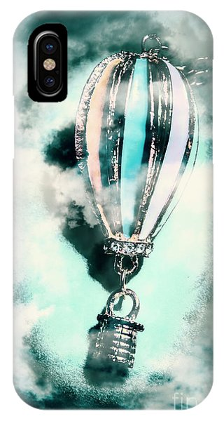 Flying iPhone Case - Little Hot Air Balloon Pendant And Clouds by Jorgo Photography - Wall Art Gallery