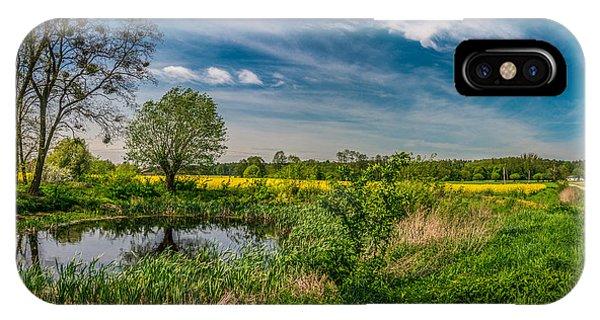 Little Pond Near A Rapeseed Field IPhone Case