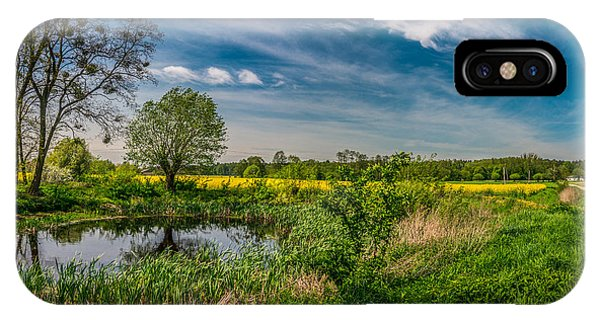 Little Pond Near A Rapeseed Field IPhone Case