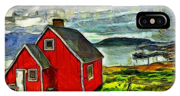 Little Red House In Greenland IPhone Case