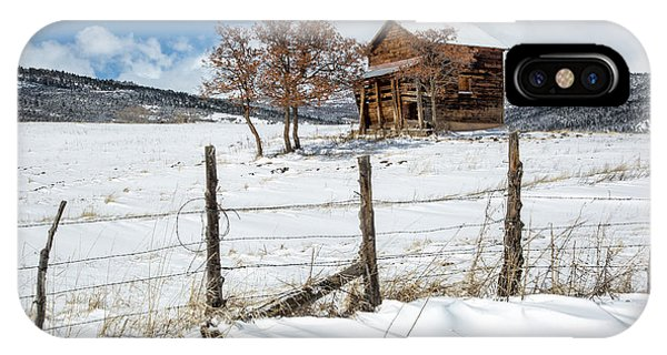 IPhone Case featuring the photograph Little Shack In Winter by Denise Bush