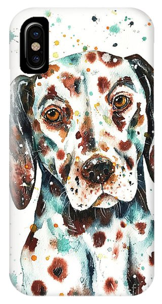 IPhone Case featuring the painting Liver-spotted Dalmatian by Zaira Dzhaubaeva