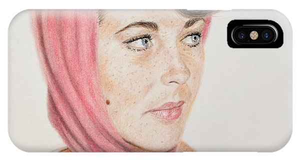 Leading Actress iPhone Case - Liz Taylor Wearing A Scarf by Jim Fitzpatrick