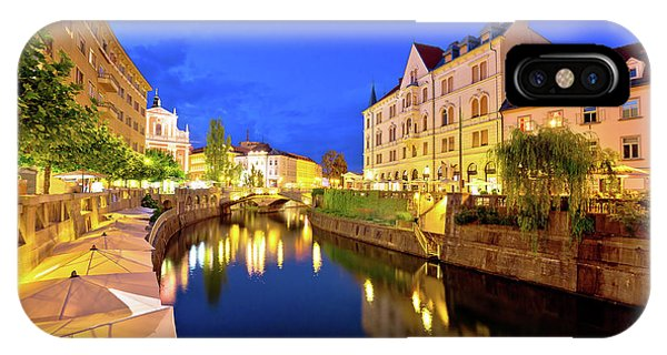 Ljubljanica River Waterfront In Ljubljana Evening View IPhone Case