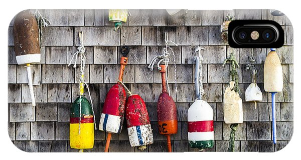 Lobster Buoys On Wall, York, Maine IPhone Case