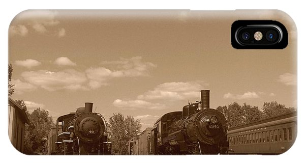 Locomotives In Sepia Phone Case by Charles Robinson