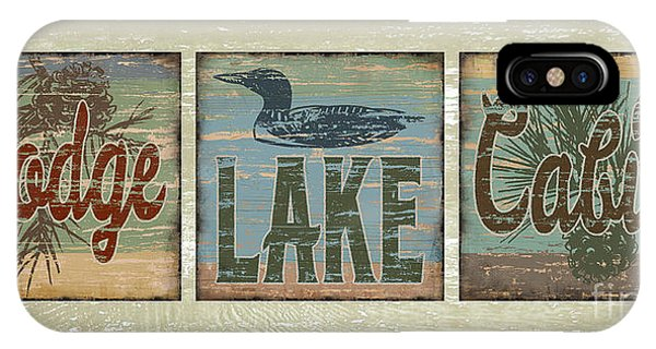 Lodge Lake Cabin Sign IPhone Case