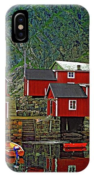 Steve Harrington iPhone Case - Lofoten Fishing Huts by Steve Harrington