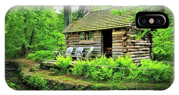 Log Cabin At Morris Arboretum IPhone Case