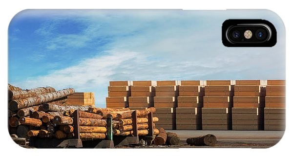 iPhone Case - Logs And Plywood At Lumber Mill by David Gn