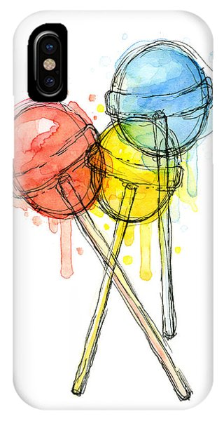 Red iPhone X Case - Lollipop Candy Watercolor by Olga Shvartsur