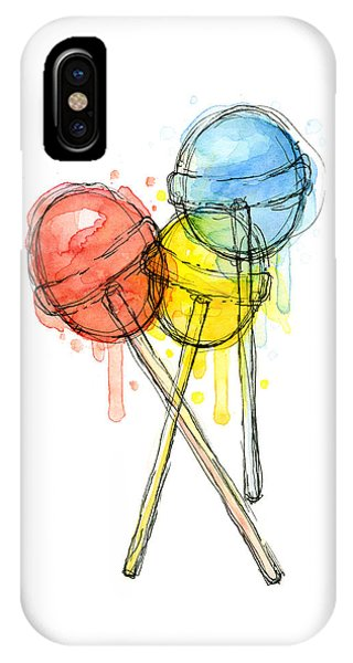 Illustration iPhone Case - Lollipop Candy Watercolor by Olga Shvartsur
