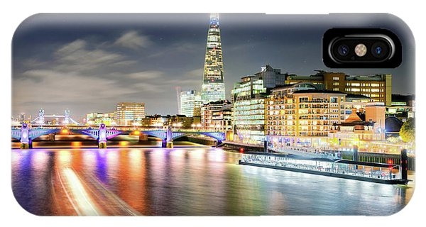 London At Night With Urban Architecture, Amazing Skyscraper And Boat At Thames River, United Kingdom IPhone Case