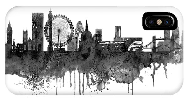 Gray iPhone Case - London Black And White Skyline Watercolor by Marian Voicu