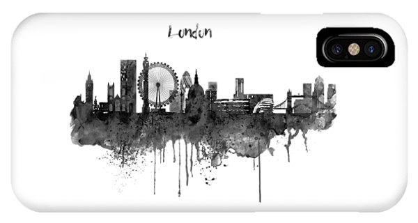 London Black And White Skyline Watercolor IPhone Case
