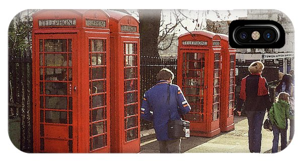 IPhone Case featuring the photograph London Call Boxes by Jim Mathis
