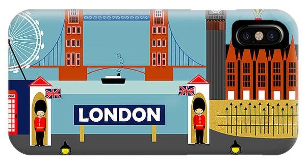 London Eye iPhone Case - London England Horizontal Scene - Collage by Karen Young