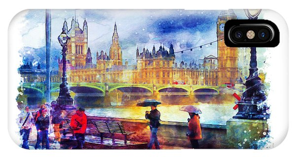 Rainy Day iPhone Case - London Rain Watercolor by Marian Voicu