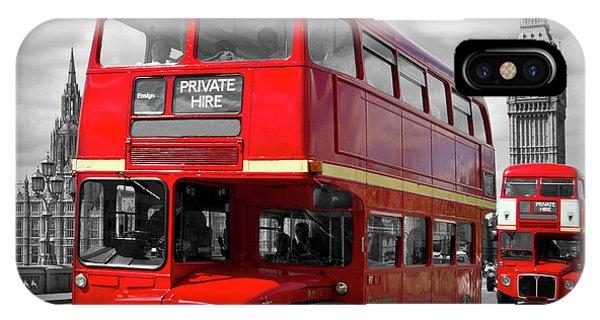 Greater London iPhone Case - London Red Buses On Westminster Bridge by Melanie Viola