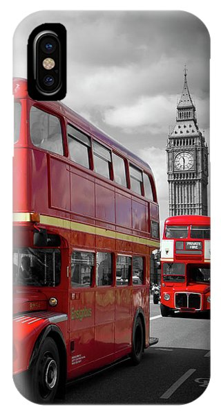 London iPhone Case - London Red Buses On Westminster Bridge by Melanie Viola
