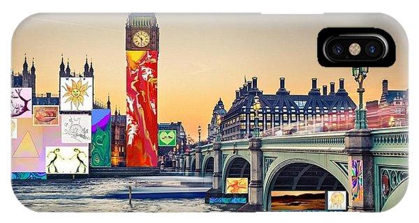 London Skyline Collage 3 Inc Big Ben, Westminster  IPhone Case