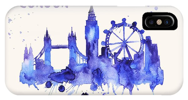 London Skyline Watercolor Poster - Cityscape Painting Artwork IPhone Case