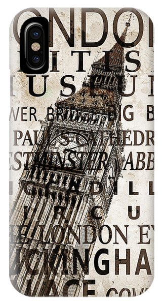 London Eye iPhone Case - London Vintage Poster Sepia by Delphimages Photo Creations