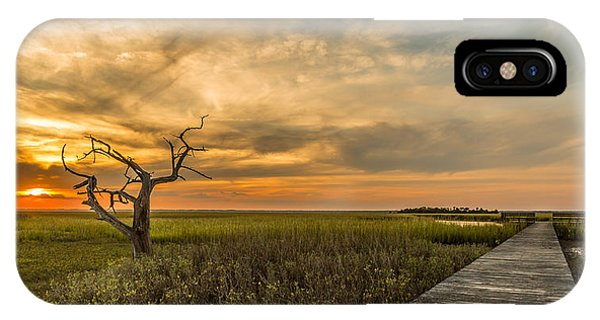 Lone Cedar Dock Sunset - Dewees Island IPhone Case