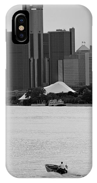 Lone Detroit River Boat Flying The American Flag IPhone Case