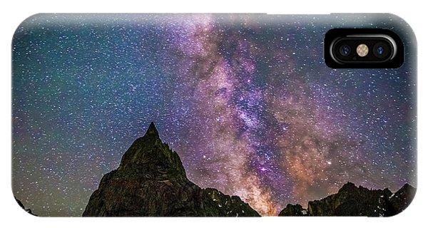 Indian Peaks Wilderness iPhone Case - Lone Eagle Peak Dancing In The Milky Way by The Hiking Mermaid