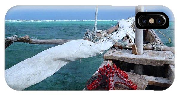 Exploramum iPhone Case - Lone Red Starfish On A Wooden Dhow 1 by Exploramum Exploramum