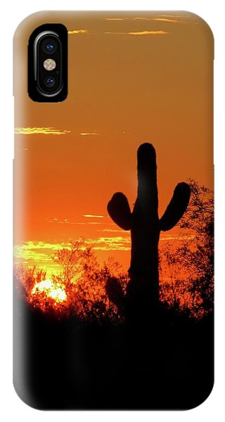 Lone Saguaro Sunrise IPhone Case