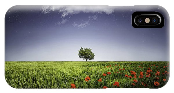 Lone Tree A Poppies Field IPhone Case
