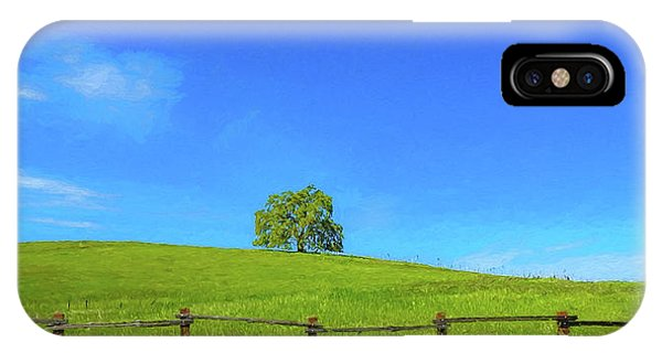 Lone Tree On A Hill Digital Art IPhone Case