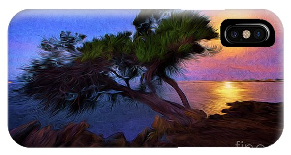 Lone Tree On Pacific Coast Highway At Moonset IPhone Case
