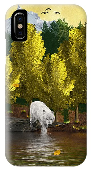 Lone Wolf At The River IPhone Case